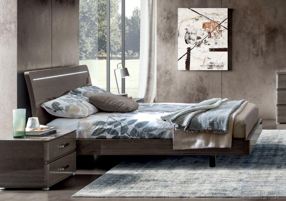 Camel Maia NIght Silver Birch Italian Lux Bed with Luna Storage