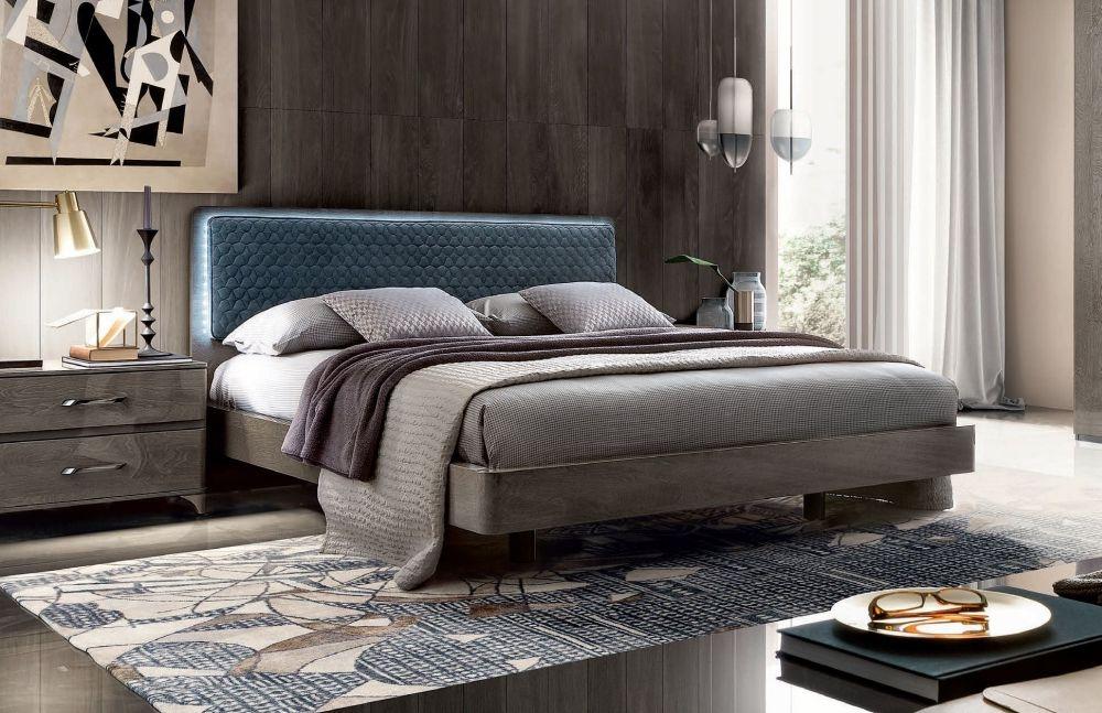 Camel Maia Night Silver Birch Italian Bed with Blue Headboard with Luna Storage