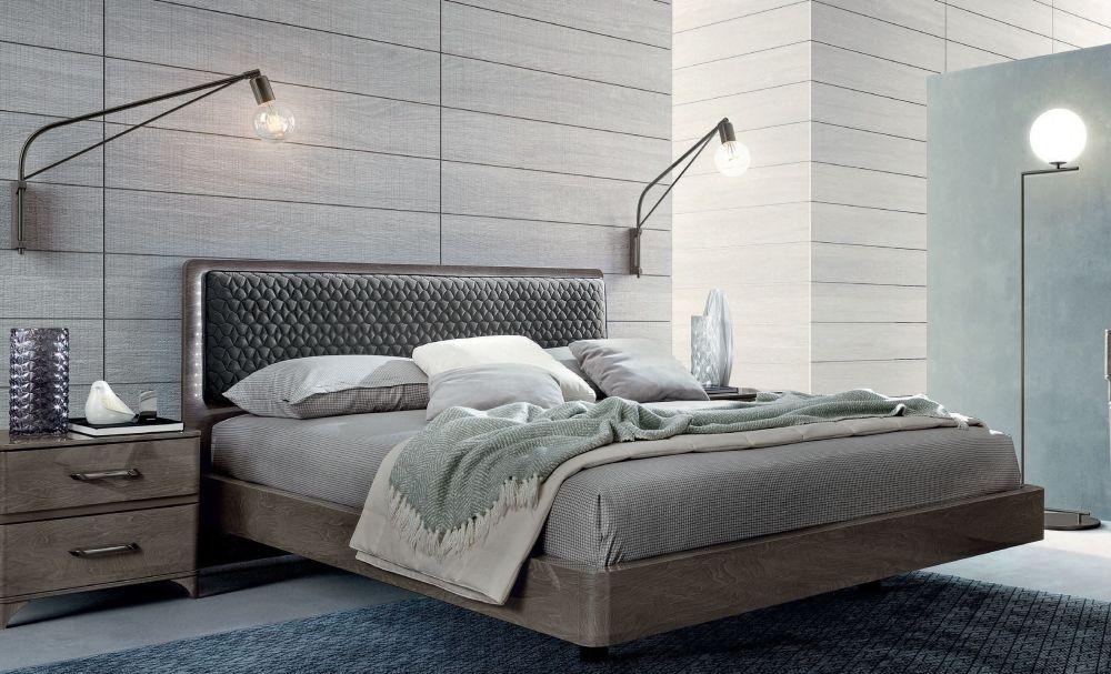 Camel Maia Night Silver Birch Italian Bed with Smoke Headboard with Luna Storage
