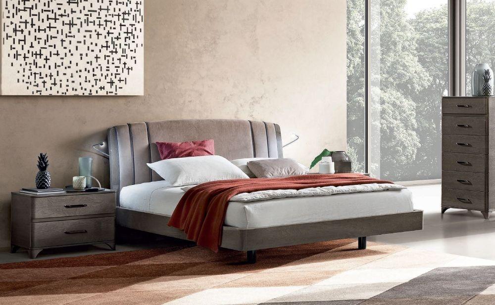 Camel Maia Night Silver Birch Italian Nabuk Trendy Bed with Teknic Storage