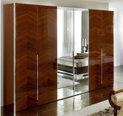 Camel Matrix Italian Wardrobe with Mirror