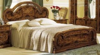 Camel Milady Walnut Italian Bed