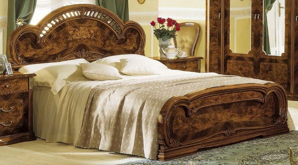 Camel Milady Walnut Italian Bed