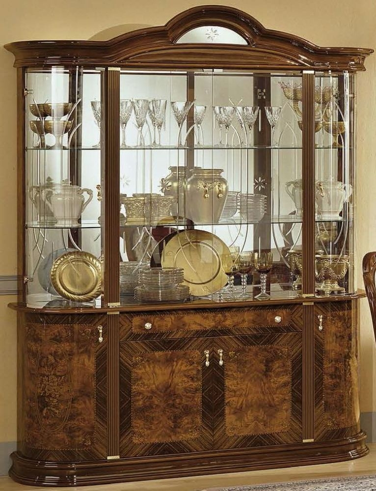 Camel Milady Walnut Italian China Cabinet - 4 Door