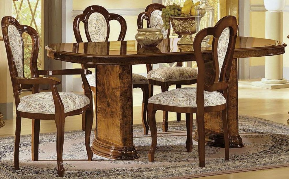 Camel Milady Walnut Italian Oval Dining Set with 4 Chairs and 2 Armchairs