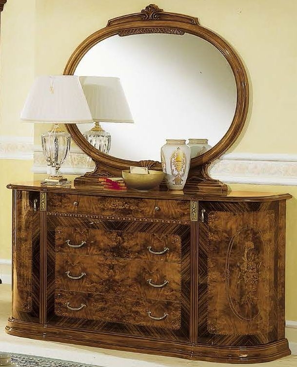 Camel Milady Walnut Italian Dresser - Double with Jewellery Drawer and Mirror