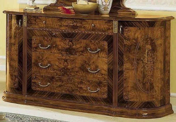 Camel Milady Walnut Italian Dresser with Jewellery Drawer