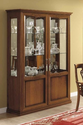Camel Nostalgia Day Walnut Italian Curved Vitrine with 2 LED Light