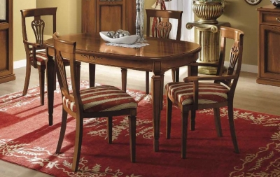 Camel Nostalgia Day Walnut Italian Oval Extending Dining Table
