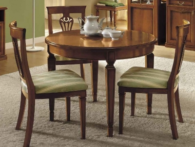 Camel Nostalgia Day Walnut Italian Round Extending Dining Table and Chairs