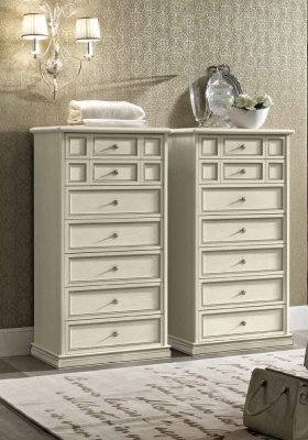 Camel Nostalgia Bianco Antico Italian 7 Drawer Chest