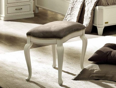 Camel Nostalgia Bianco Antico Italian Eco Leather Nabuk Stool
