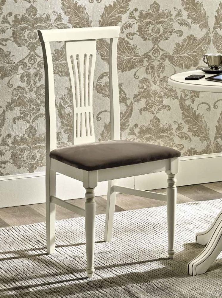 Camel Nostalgia Bianco Antico Italian Eco Leather Nabuk Dining Chair