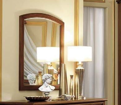 Camel Nostalgia Night Walnut Italian Curved Mirror - 76cm x 95cm