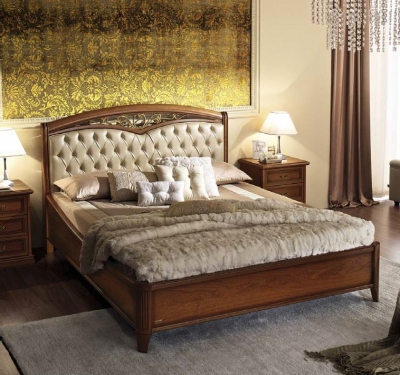 Camel Nostalgia Night Walnut Italian Curvo Fregio Capitonne Ring Bed