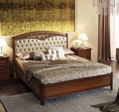 Camel Nostalgia Night Walnut Italian Curvo Fregio Capitonne Ring Bed with Storage