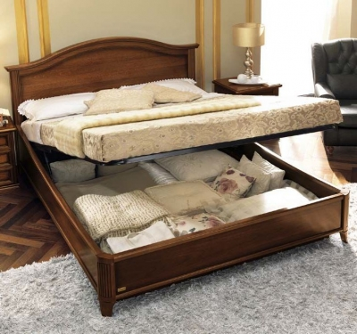 Camel Nostalgia Night Walnut Italian Gendarme Ring Bed with Storage
