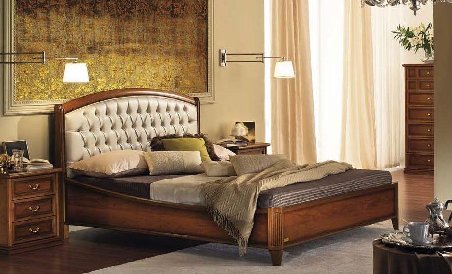 Camel Nostalgia Night Walnut Italian Curvo Legno Capitonne Ring Bed