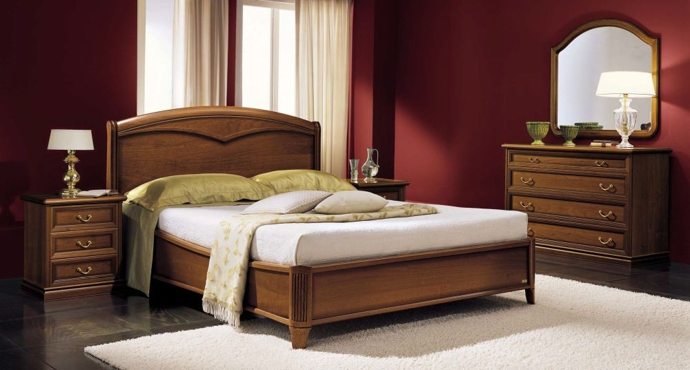 Camel Nostalgia Night Walnut Italian Curvo Legno Ring Bed with Storage
