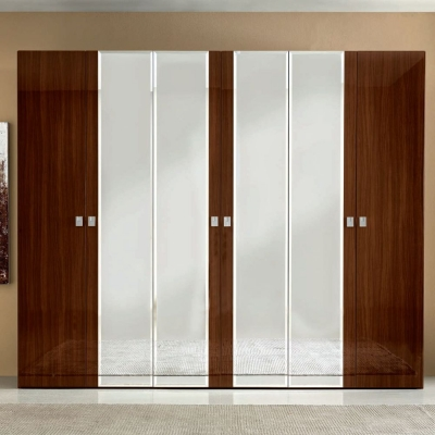 Camel Onda Night Walnut Italian Mirror Wardrobe