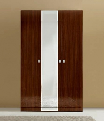 Camel Onda Night Walnut Italian 3 Door Wardrobe with Mirror