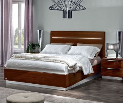 Camel Onda Night Walnut Italian Legno Bed with Luna Storage