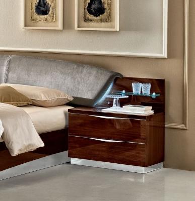 Camel Onda Night Walnut Italian Maxi Bedside Cabinet