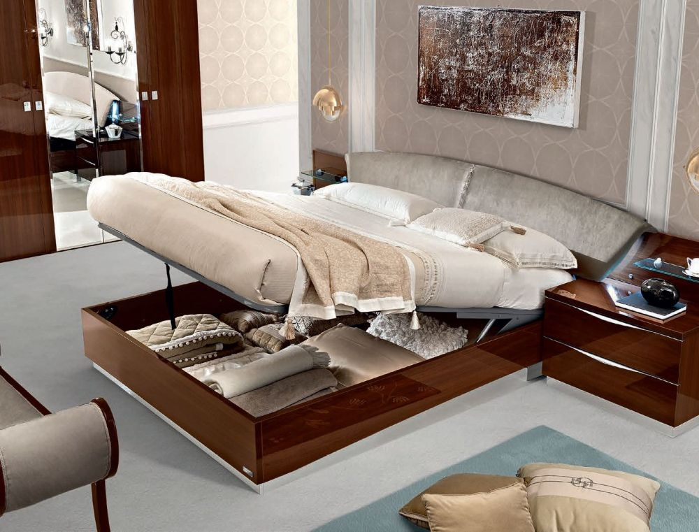 Camel Onda Night Walnut Italian Drop Bed with Luna Storage