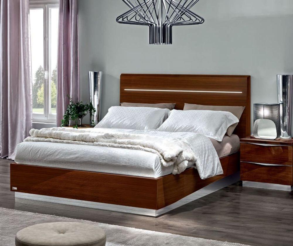 Camel Onda Night Walnut Italian Legno Bed with Luna Storage