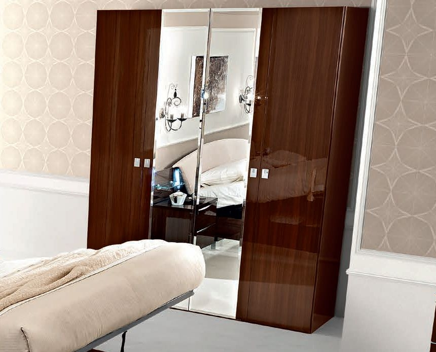Camel Onda Night Walnut Italian 4 Door Wardrobe with Mirror
