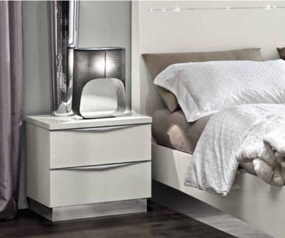Camel Onda Night White Italian Mini Bedside Cabinet