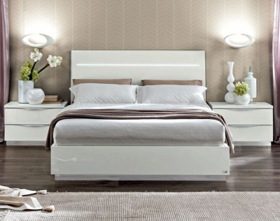 Camel Onda Night White Italian Legno Bed with Luna Storage