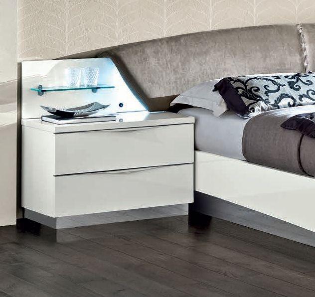 Camel Onda Night White Italian Maxi Bedside Cabinet