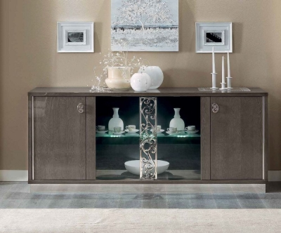 Camel Platinum Day Silver Birch Glamour Italian Vitrine Buffet Sideboard with Glass Door