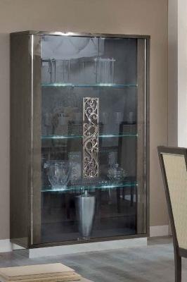 Camel Platinum Day Silver Birch Glamuor Italian Large Glass Cabinet