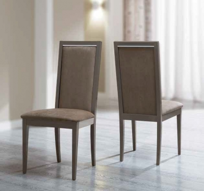 Camel Platinum Day Liscia Eco Nabuk Upholstered Italian Dining Chair with Padded Back