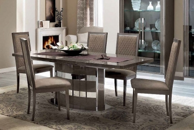 Camel Platinum Day Silver Birch Italian Butterfly Extending Dining Table and 6 Rombi Eco Nabuk Chairs