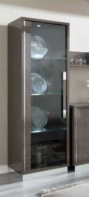 Camel Platinum Day Silver Birch Italian 1 Left Door Glass Cabinet
