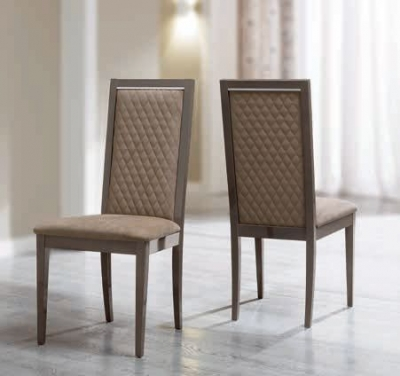 Camel Platinum Italian Ecopelle Nabuk Rombi Dining Chair (Pair)