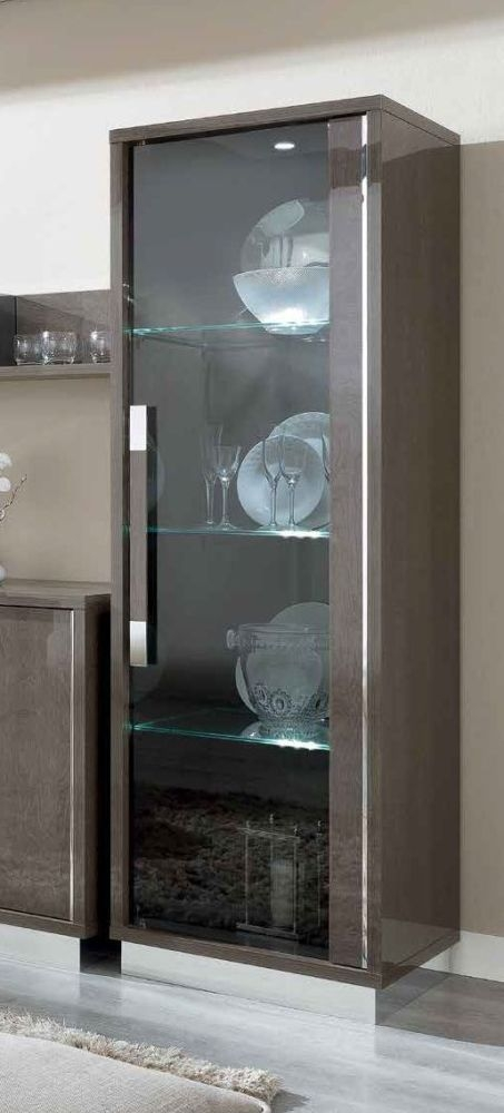 Camel Platinum Day Silver Birch Italian 1 Right Door Glass Cabinet