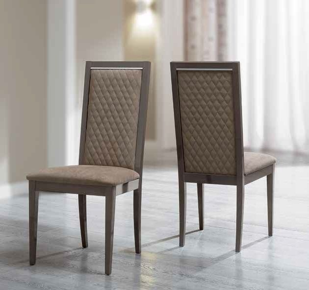 Camel Platinum Day Rombi Nabuk Upholstered Italian Dining Chair with Padded Back