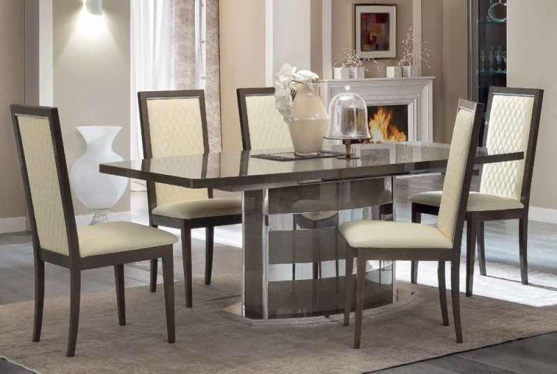 Camel Platinum Day Silver Birch Italian Butterfly Extending Dining Table and 6 Rombi Ivory Eco Leather Chairs