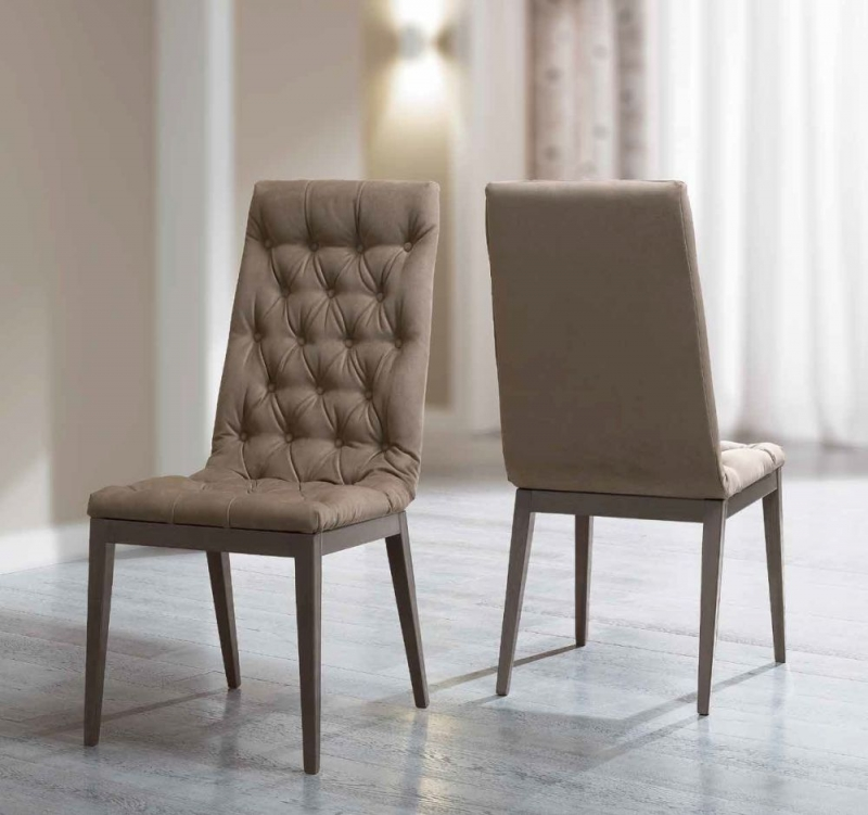 Camel Platinum Day Silver Birch Eco Nabuk Upholstered Italian Capitonne Dining Chair