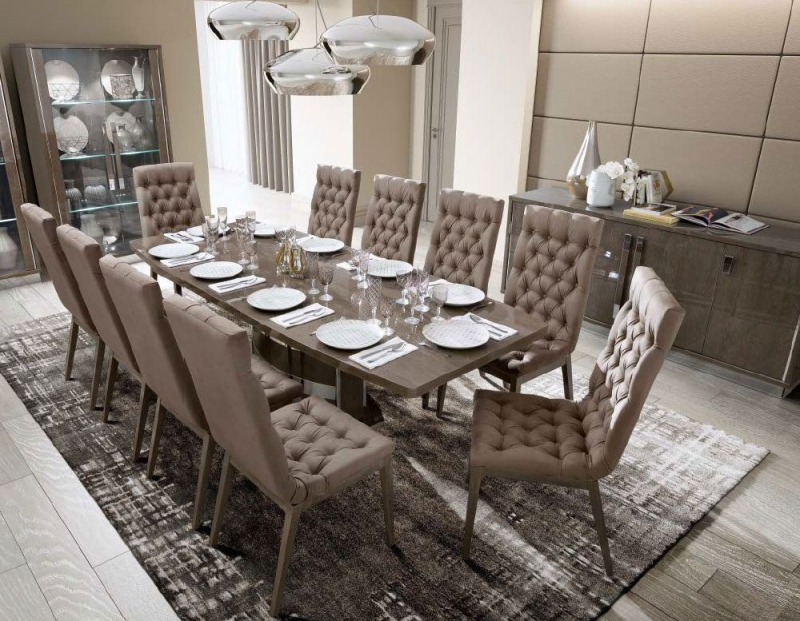 Camel Platinum Day Silver Birch Italian Butterfly Extending Dining Table and 6 Capitonne Eco Nabuk Chairs