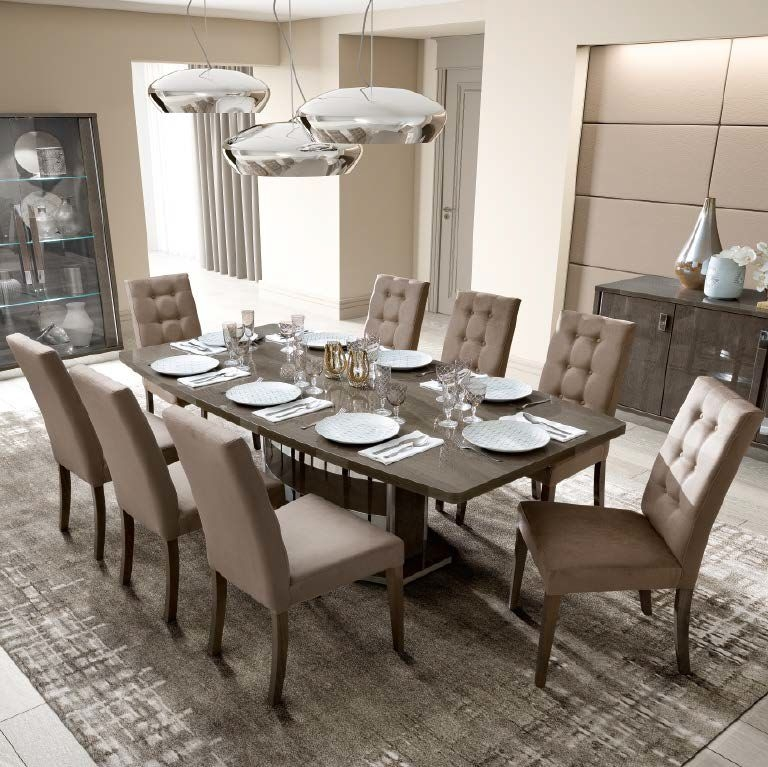 Camel Platinum Day Silver Birch Italian Butterfly Extending Dining Table and 6 Dama Eco Nabuk Chairs