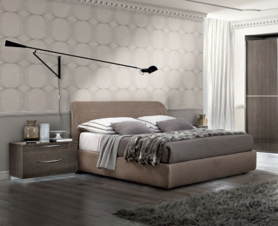 Camel Platinum Night Italian Kleo Bed with Luna Storage