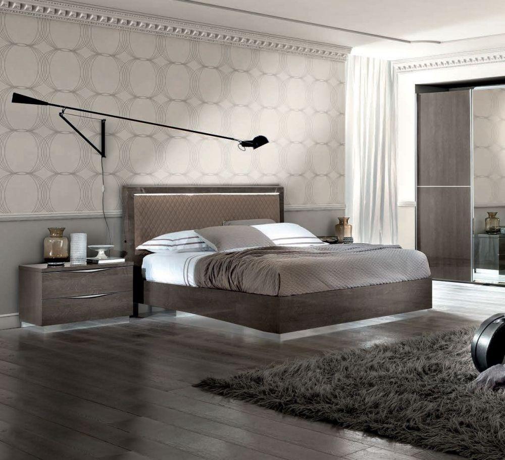 Camel Platinum Night Rombi Italian Bed with Luna Storage