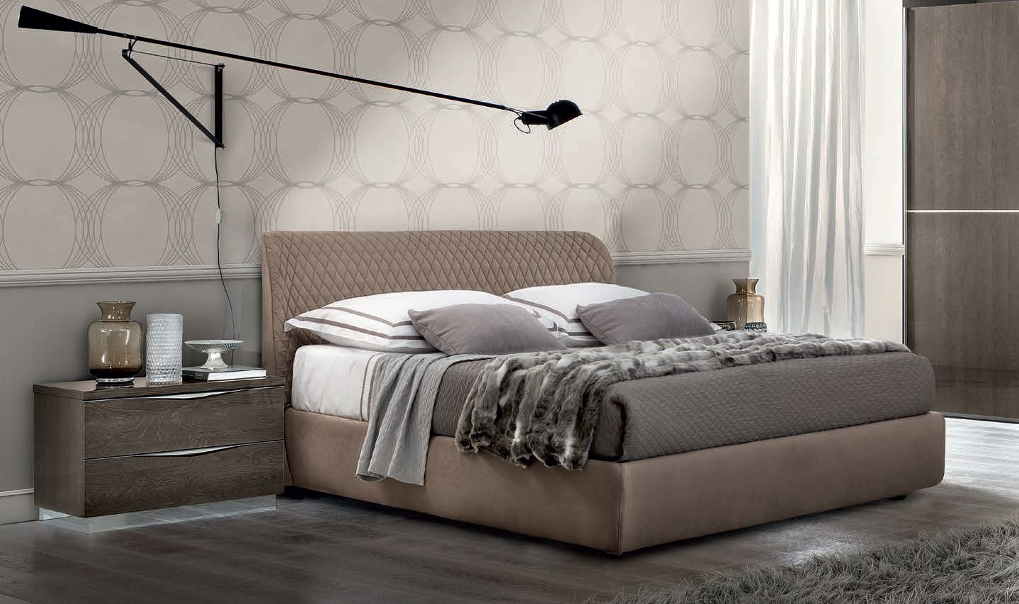 Camel Letto Kleo Platinum Night Italian Luna Storage Bed