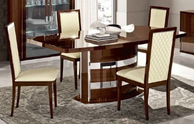 Camel Roma Day Walnut Italian Butterfly Extending Dining Table