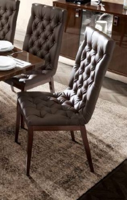 Camel Roma Day Walnut Eco Leather Time Upholstered Italian Capitonne Dining Chair